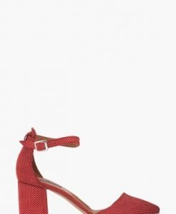 Pantofi rosii cu buline din piele naturala CB011 - Pantofi -