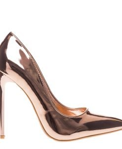 Pantofi stiletto Cierra rose cu auriu - Incaltaminte Dama - Pantofi Stiletto