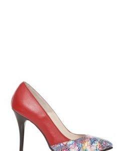Pantofi stiletto cu imprimeu mozaic din piele naturala P127 rosu - Pantofi -