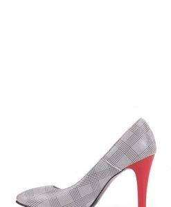 Pantofi stiletto cu imprimeu pepit din piele naturala P1 - Pantofi -