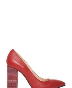 Pantofi stiletto din piele naturala cu toc gros P145 rosu - Pantofi -