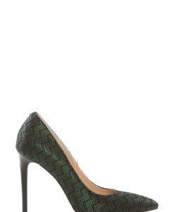 Pantofi stiletto din piele naturala imprimata P140 verde - Pantofi -
