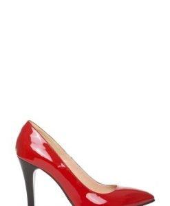 Pantofi stiletto din piele naturala lacuita P1T8 rosu - Pantofi -