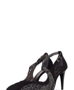 Pantofi stiletto negri din piele intoarsa 335 - Pantofi -