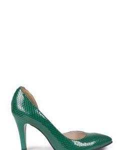 Pantofi stiletto verzi din piele lac P1D - Pantofi -