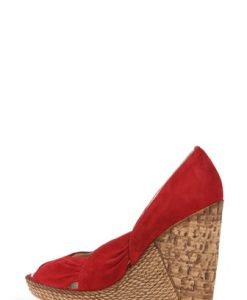 Pantofi wedges rosii din piele intoarsa 301 - Pantofi -
