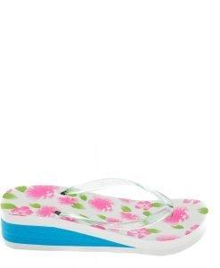 Papuci dama A800 albi cu albastru - Incaltaminte Dama - Papuci Dama