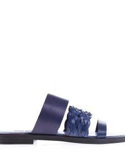 Papuci dama piele 2105 albastri - Incaltaminte Dama - Papuci Dama
