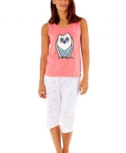 Pijama dama Owl Coral din bumbac - Lenjerie pentru femei - Pijamale dama