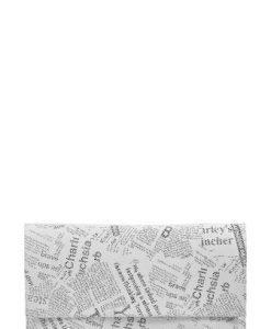 Plic cu imprimeu ziar din piele naturala PZA alb - Plicuri -