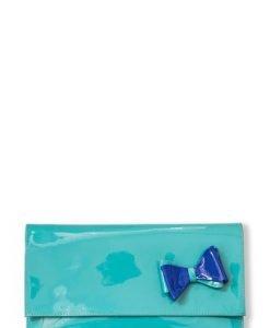 Plic de ocazie cu fundita din piele naturala lacuita PLT verde smarald - Plicuri -