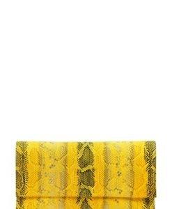 Plic de ocazie cu imprimeu sarpe din piele naturala PLS galben - Plicuri -