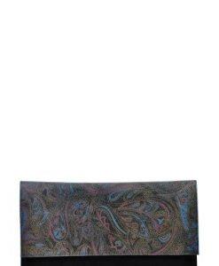 Plic de seara cu imprimeu din piele naturala PNP multicolor - Plicuri -