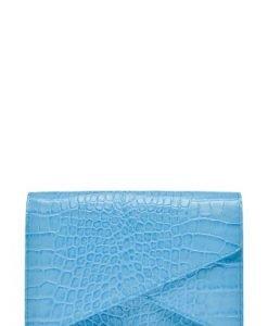 Plic din piele naturala croco ANNE bleu - Plicuri -