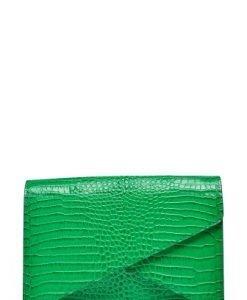 Plic din piele naturala croco ANNE verde - Plicuri -