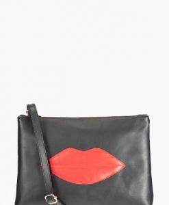Plic negru cu aplicatie buze rosii din piele naturala LILY - Plicuri -