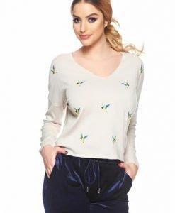 Pulover Embroidered Birds Cream - Pulovere -