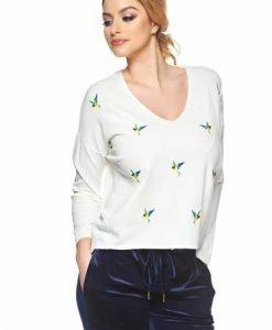 Pulover Embroidered Birds White - Pulovere -