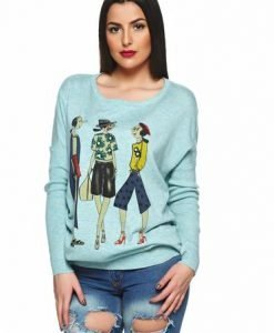 Pulover Stylish Character LightBlue - Pulovere -