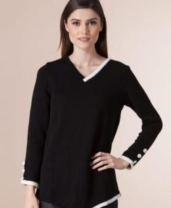Pulover alb-negru din tricot 1F-382 - Pulovere -