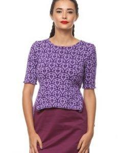 Pulover asimetric tricotat manual cu model cercuri 3056 lila - Pulovere -