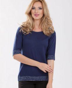 Pulover bleumarin din tricot 1F.333 - Pulovere -
