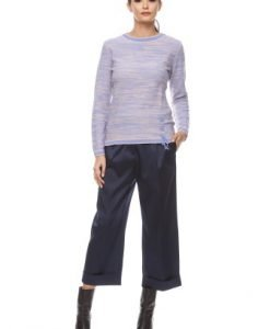 Pulover casual lila cu crem din tricot 1F.390 crem-lila - Pulovere -