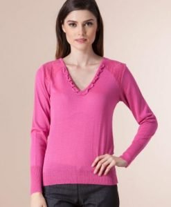Pulover ciclam din tricot 1F-410 - Pulovere -