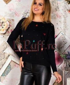 Pulover dama negru cu ciucuri colorati - PULOVERE -