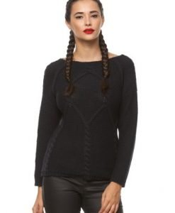 Pulover din tricot cu model in relief K-PUCINE bleumarin - Pulovere -