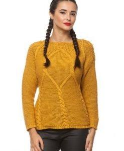 Pulover din tricot cu model in relief K-PUCINE mustar - Pulovere -
