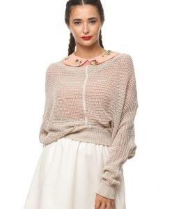 Pulover din tricot subtire 15200 bej - Pulovere -