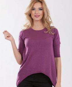 Pulover mov din tricot 356-1 - Pulovere -