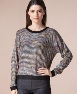 Pulover multicolor din tricot 13974 - Pulovere -