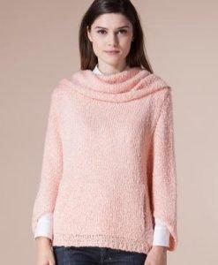Pulover roz cu guler 4709 - Pulovere -