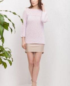 Pulover roz din tricot 6894 - Pulovere -