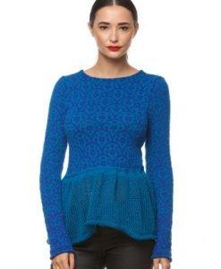 Pulover tricotat manual cu model 3052 turcoaz - Pulovere -