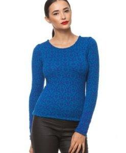 Pulover tricotat manual cu model cercuri 3054 albastru - Pulovere -