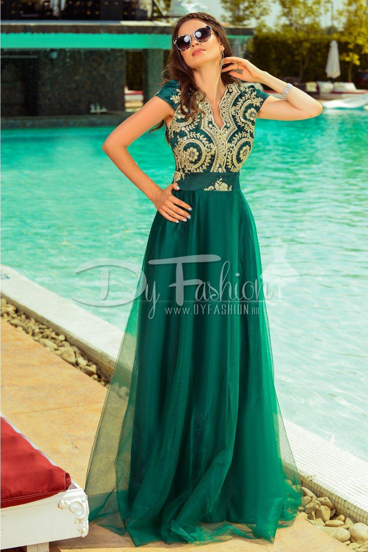 Rochie Precious Verde Lunga De Seara Rochii Dama Fashion Sales