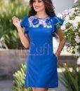 Rochie albastra eleganta cu broderie si maneci tip volanas - ROCHII -