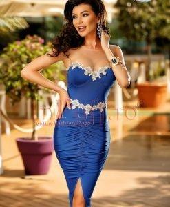 Rochie de seara albasta pe corp - ROCHII -