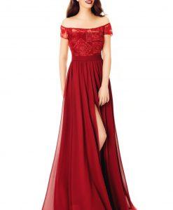 Rochie de seara bordo din voal cu bust din dantela - ROCHII -