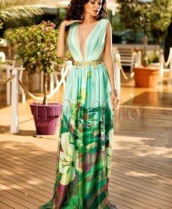 Rochie de seara cu imprimeu floral si accesoriu auriu in talie - ROCHII -