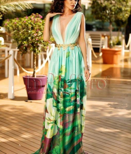 Rochie de seara cu imprimeu floral si accesoriu auriu in talie – ROCHII –