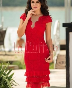 Rochie de seara din rosie dantela si volane din voal - ROCHII -