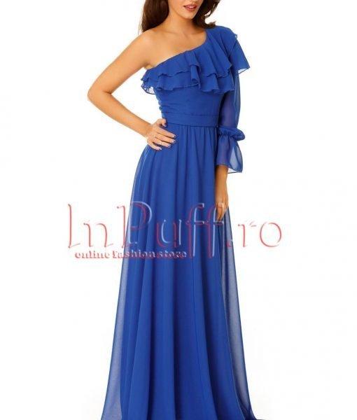 Rochie de seara lunga albastra din voal – ROCHII –