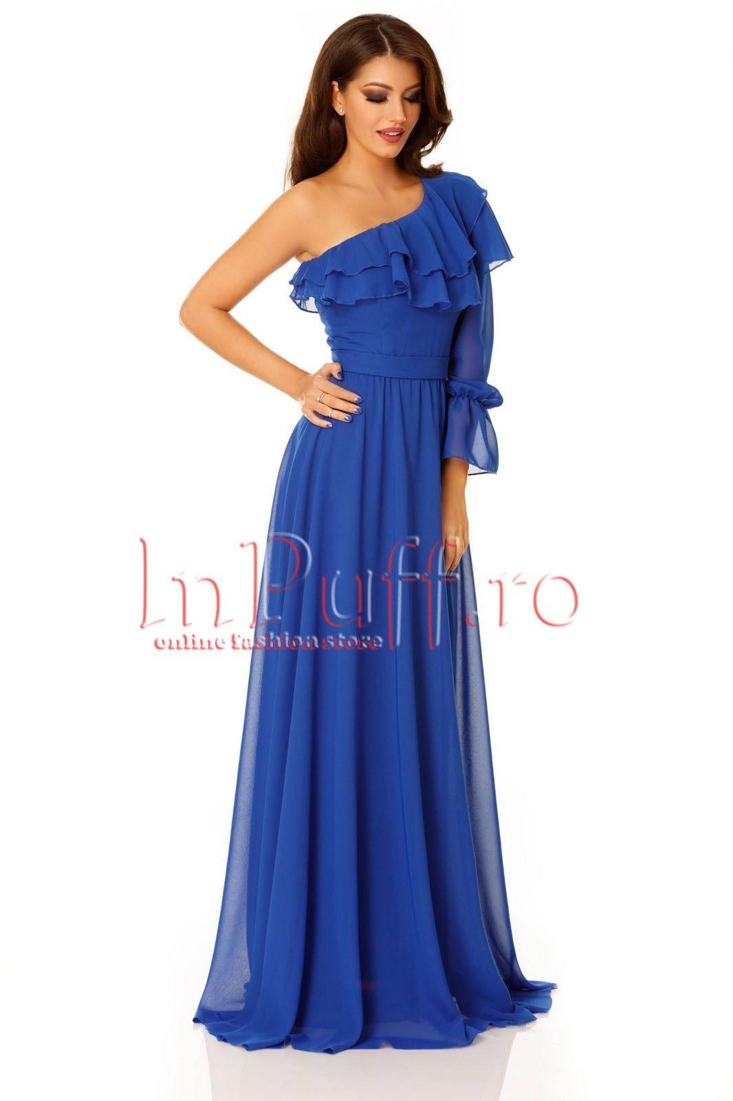 Rochie De Seara Lunga Albastra Din Voal Rochii Dama Fashion Sales
