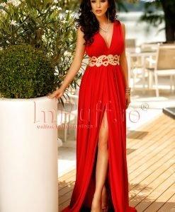 Rochie de seara lunga rosie crapata pe picior - ROCHII -