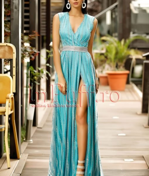 Rochie de seara turquoise cu tul argintiu despicata pe picior – ROCHII –