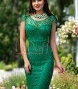 Rochie de seara verde dantela brodata paietata - ROCHII -